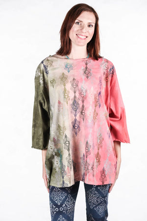 1251 HD Forest Pink Coral Textile Dream Hand Dyed Line Tee-P