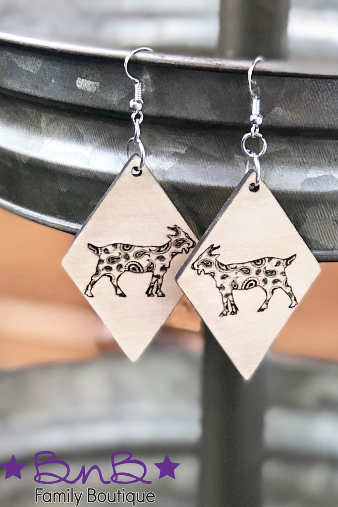 Paisley Goat - Wood Earrings