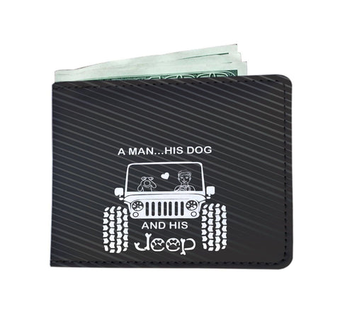 A Man His Dog And His Jeep Men's Wallet