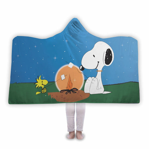 Snoopy & Woodstock Campfire Hooded Blanket