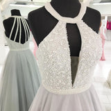 2018 Cheap Elegant Fashion Sexy Halter Tulle Beaded A line Custom Grey Long Evening Prom Dresses, 17359