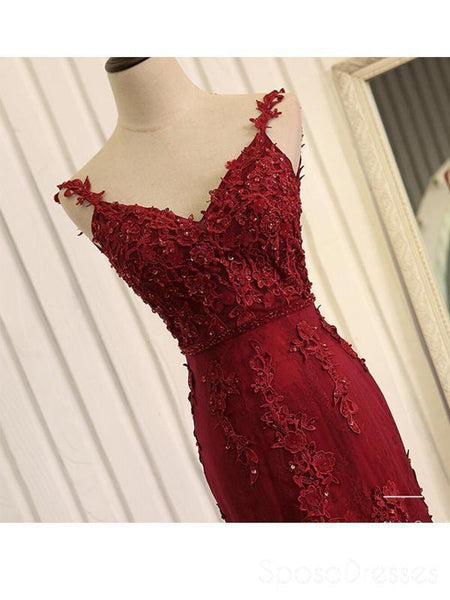 Red Lace Mermaid V-neck Cheap Long Evening Prom Dresses, Evening Party Prom Dresses, 18643
