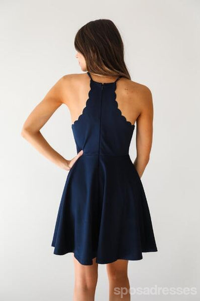 Navy Halter Spaghetti Straps Cheap 2018 Homecoming Dresses Under 100, CM398