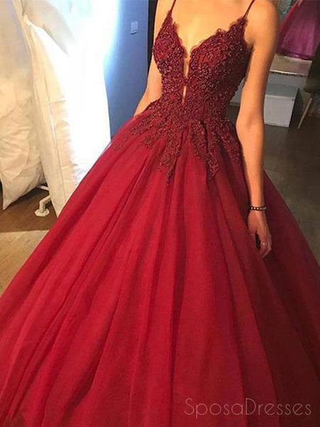 Dark Red A line Lace Beaded V Neckline Long Evening Prom Dresses, Long Party Prom Dresses, 17274