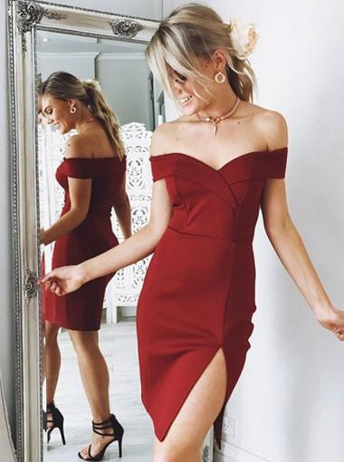 Off Shoulder Red Simple Cheap Short Homecoming Dresses Online, CM620