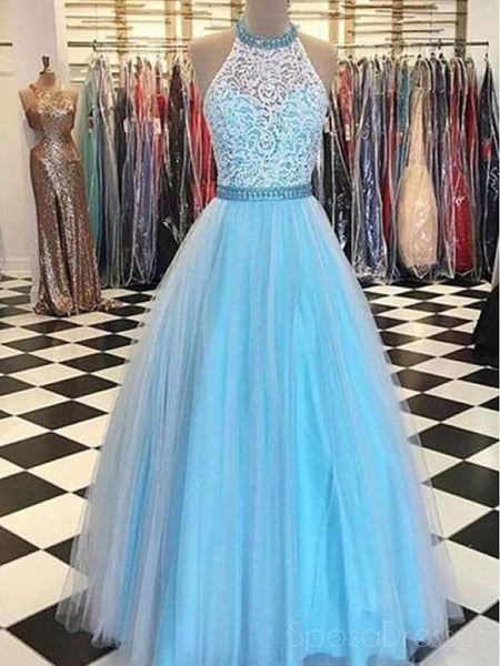 2018 Blue Lace Halter  A-line Long Evening Prom Dresses, 17644