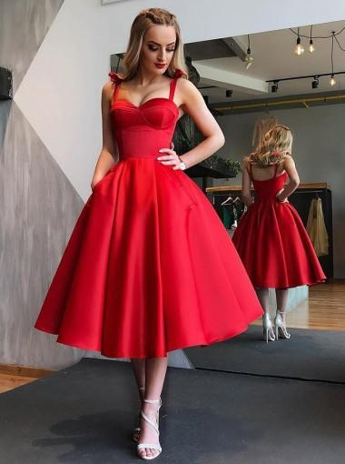Simple Red Straps Cheap Short Homecoming Dresses Online, CM659