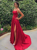 Red Sexy Side Slit Spaghetti Straps Cheap Long Evening Prom Dresses, Cheap Sweet 16 Dresses, 18374
