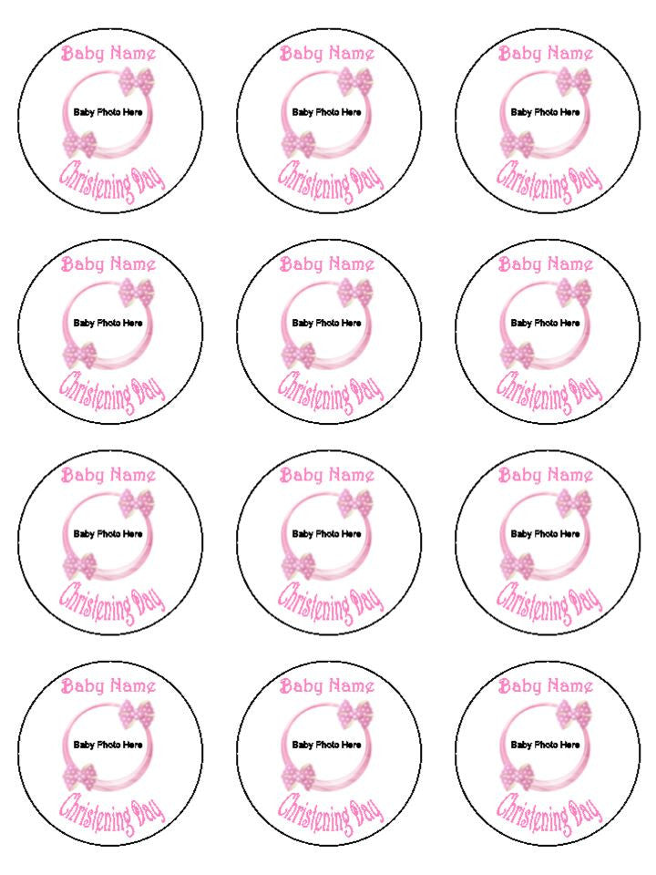 Baby Photo and Text Pink Edible Cake & Cupcake Toppers