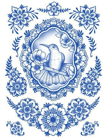 Tattooed Now!  Temporary Tattoo Delft Birds and Flowers - Set 07