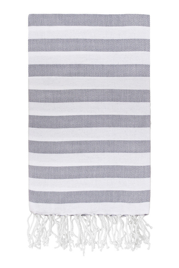 Awning Stripe Peshtemal in Gray from Olive and Loom