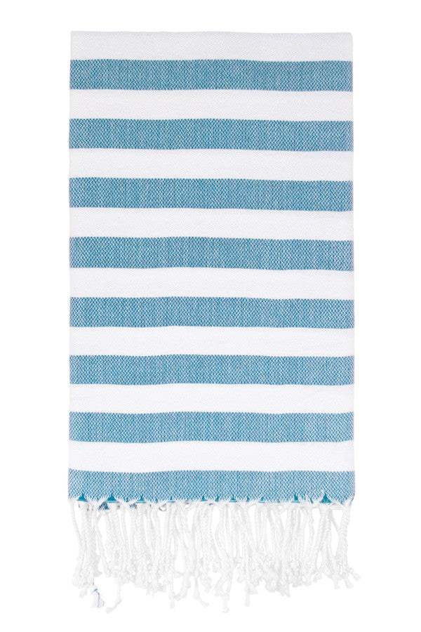 Awning Stripe Peshtemal in Turquoise from Olive and Loom