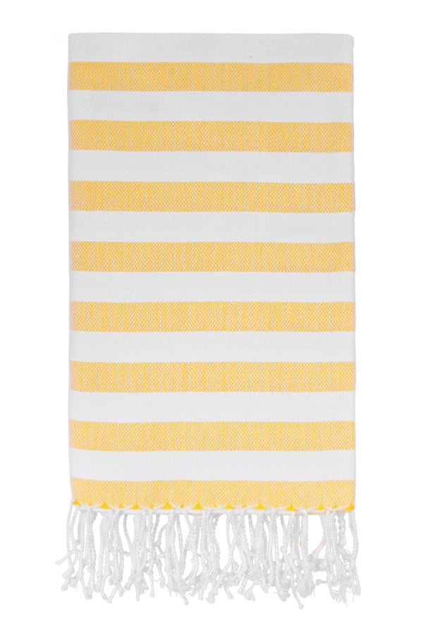 Awning Stripe Peshtemal in Yellow from Olive and Loom