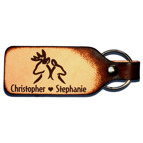 Buck & Doe Leather Keychain with Free Customization - Love Chirp Gifts