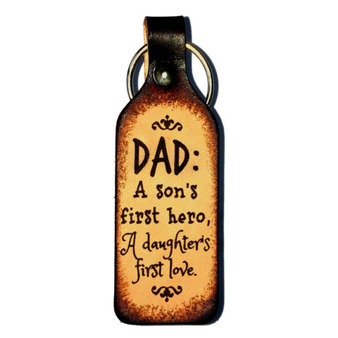 Dad is Son's Hero & Daughter's Love Leather Keychain - Love Chirp Gifts