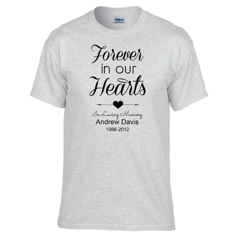 Forever in Our Hearts Personalized Unisex T-shirt - Love Chirp Gifts