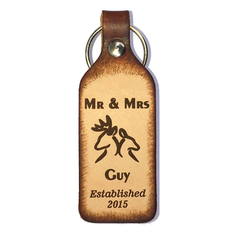 Mr & Mrs Buck and Doe Leather Keychain - Love Chirp Gifts