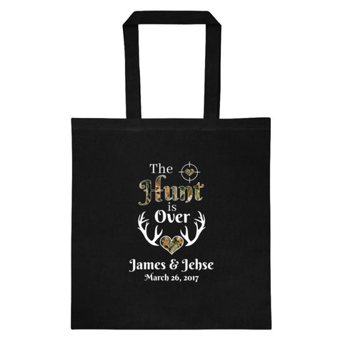The Hunt is Over Tote Personalized with Your Names and Date - Love Chirp Gifts