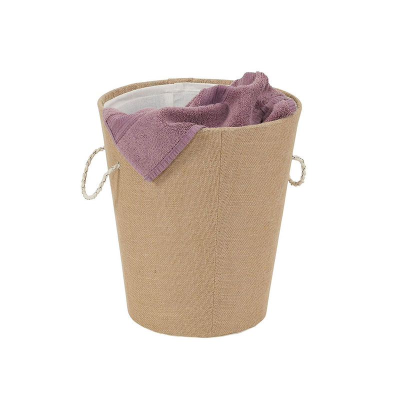 Round Tall Linen Basket With Rope Handle