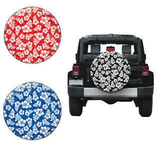 "Hibiscus Flower Tire Covers (28""-35"" Liberty KJ, Wrangler CJ, YJ, TJ, & JK)"