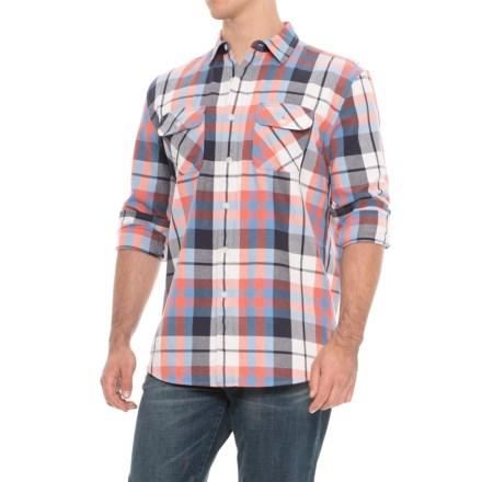 Beach Shack Twill Shirt <br> Blue Coral Plaid