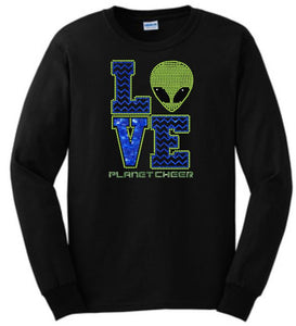Planet Cheer Long-Sleeve T-Shirt Adult Love - Monograms by K & K