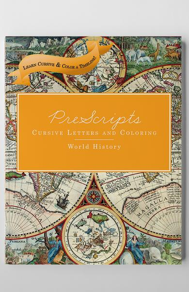 PRESCRIPTS® CURSIVE LETTERS AND COLORING: WORLD HISTORY