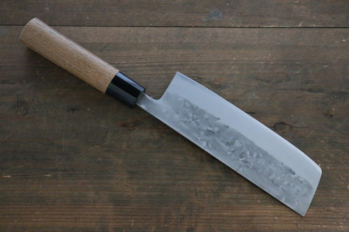 Seisuke Blue Steel No.2 Nashiji Nakiri Japanese Chef Knife 165mm with Chestnuts Wood handle