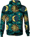 HandCrafted Sun and Moon Green Hoodie