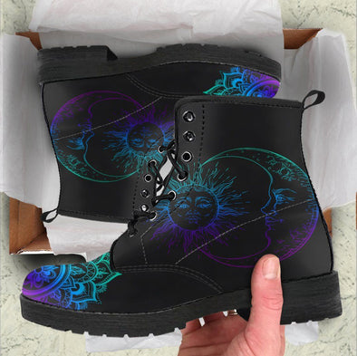Handcrafted Blue Purple Sun and Moon 1 Boots