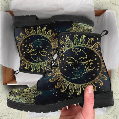 Handcrafted Gold Sun and Moon 1 Boots