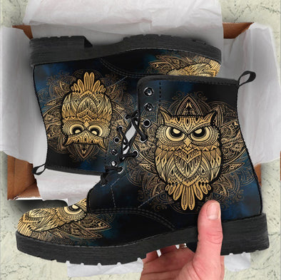 Handcrafted Gold Owl Boots .