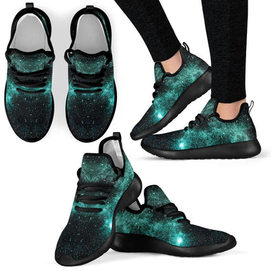 Handcrafted Glowing Galaxy Mesh Knit Sneakers