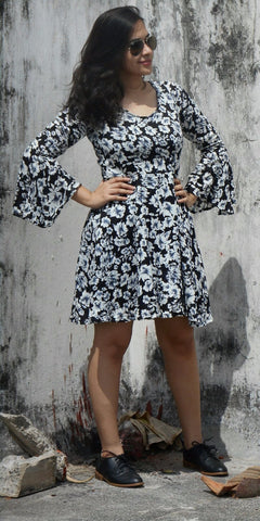 Aaina by Sanchari-Floral Black and White Skater Dress
