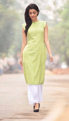 Aaina by Sanchari-Lime Green Kurti