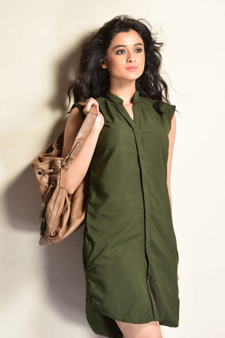 Aaina by Sanchari-Olive Green Shift Shirt Dress
