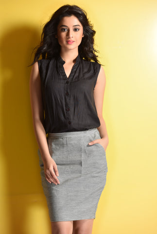 Aaina by Sanchari-Set of Linen Black Shirt and Striped Denim Skirt