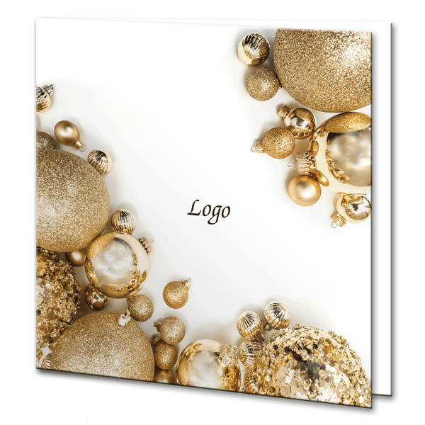 Gold Baubles Christmas Card