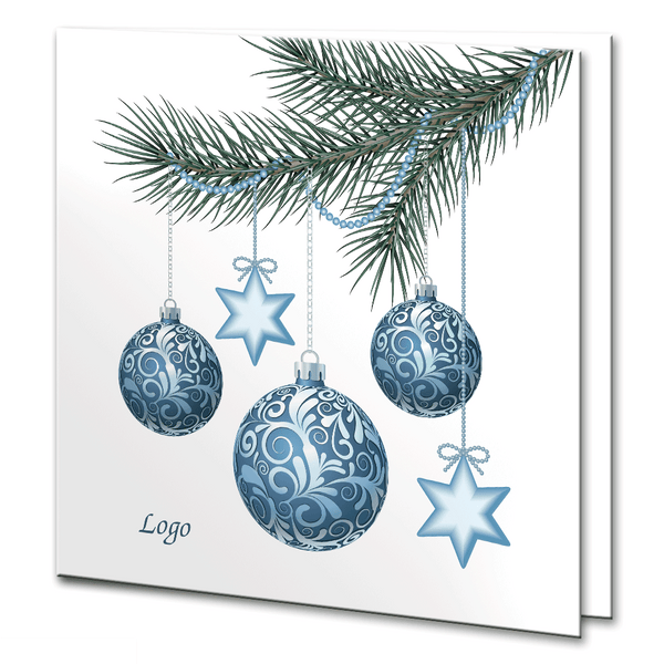 Christmas Tree Branch with Blue Hanging Baubles