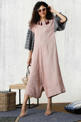 Blossom Blush Linen Wide Leg Overall Dress