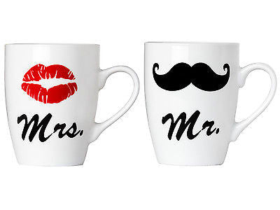 Set of Mr. and Mrs. Coffee or Tea Mugs Gift Box Marriage Wedding Love Couple