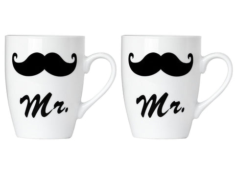 Set of Mr. and Mr. Coffee or Tea Mugs Gift Box Marriage Wedding Love Couple
