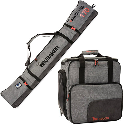 "BRUBAKER ""Performance"" Ski Bag Combo of Ski Boot Bag and Ski Bag for 1 Pair of Ski, Poles, Boots, Helmet, Gear and Apparel - Gray - 66 7/8"" (170 cm) or 74 3/4"" (190 cm)"