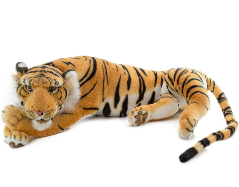 BRUBAKER Brown Plush Tiger 34 Inches, Stuffed Animal Toy