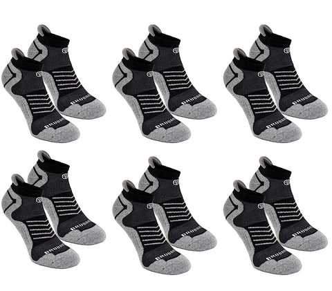 BRUBAKER Unisex Cushion Low Cut Running & Athletic Performance Tab Socks - 6 Pairs - Various Colors