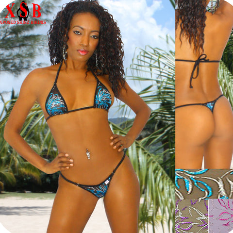 Xposed Skinz Bikinis x100 Vixen Triangle Back  Sequin Mesh Sheer Bikini S M L, Swimwear- Xposed Skinz Bikinis