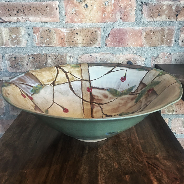 Wide Cherry Serving Bowl with Rim