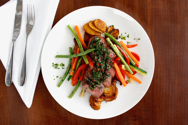 Bistro Steak with Chimichurri Sauce, Spanish Potatoes, Julienne Vegetables