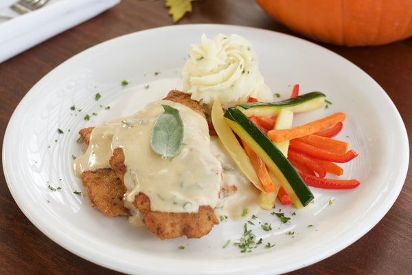 Chicken with Sage Sauce with Havarti Chive Mashed Potatoes and Julienne Vegetables
