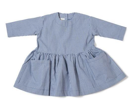 Pocket Dress Long Sleeve (Navy Gingham) - A We Grow